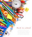 Herramientas y accesorios de la escuela Foto de archivo libre de regalías