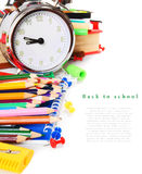 Herramientas y accesorios de la escuela Imágenes de archivo libres de regalías