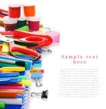 Herramientas y accesorios de la escuela Fotos de archivo libres de regalías