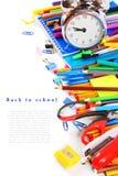 Herramientas y accesorios de la escuela en el fondo blanco Foto de archivo libre de regalías