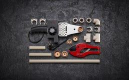 Herramientas y accesorios de la fontanería Fotos de archivo