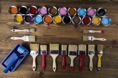 Herramientas y accesorios de la pintura Fotos de archivo libres de regalías