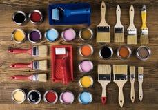Herramientas y accesorios de la pintura Fotografía de archivo