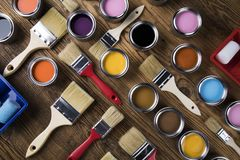 Herramientas y accesorios de la pintura Imagenes de archivo