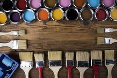 Herramientas y accesorios de la pintura Imagen de archivo libre de regalías