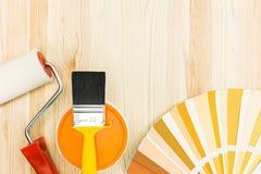 Herramientas y accesorios de la pintura para la renovación casera Imagen de archivo