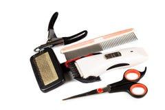 Herramientas y accesorios de la preparación del perro fijados Fotografía de archivo libre de regalías