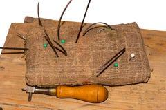 Herramientas y accesorios del zapatero Imagen de archivo libre de regalías