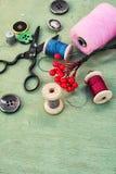 Herramientas y accesorios para la costura Imagen de archivo