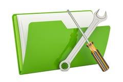 Herramientas y ajustes, icono de la carpeta del ordenador representación 3d Imagen de archivo libre de regalías