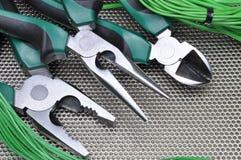 Herramientas y cables eléctricos Foto de archivo libre de regalías