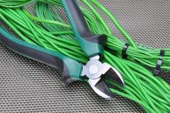 Herramientas y cables eléctricos Fotos de archivo