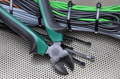 Herramientas y cables eléctricos Fotografía de archivo