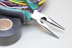 Herramientas y cables eléctricos Fotografía de archivo libre de regalías