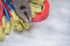 Herramientas y cables eléctricos Imágenes de archivo libres de regalías