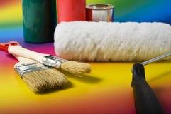 Herramientas y colores de la pintura Fotografía de archivo libre de regalías