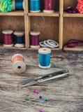 Herramientas y costura de los accesorios Imagen de archivo
