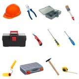 Herramientas y equipo de la construcción en un fondo blanco. Fotografía de archivo libre de regalías
