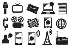 Herramientas y equipo para el sistema del icono del vector de los medios y de la comunicación Imagenes de archivo
