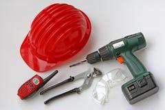 Herramientas y equipos para los sitios de trabajo Imagen de archivo libre de regalías