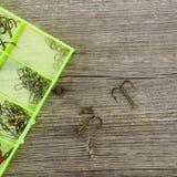 Herramientas y ganchos de la pesca fotografía de archivo libre de regalías