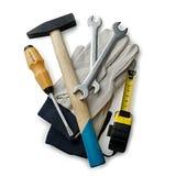 Herramientas y guantes clasificados de la mano en el fondo blanco Fotografía de archivo libre de regalías