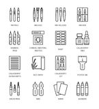 Herramientas y materiales de la caligrafía Línea iconos del vector libre illustration