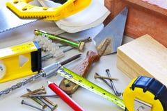 Herramientas y materiales del edificio Foto de archivo libre de regalías