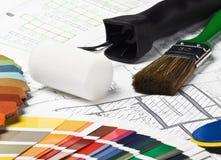 Herramientas y materiales a la reparación Foto de archivo