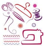 Herramientas y objetos de costura fijados Fotografía de archivo libre de regalías