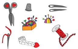 Herramientas y objetos de costura fijados Fotos de archivo