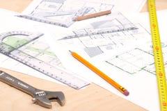 Herramientas y planes de suelo Foto de archivo