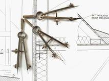 Herramientas y planes del arquitecto Fotografía de archivo