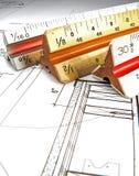 Herramientas y planes del arquitecto Imagen de archivo libre de regalías