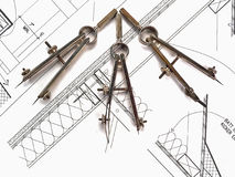 Herramientas y planes del arquitecto Foto de archivo
