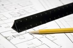 Herramientas y planes del arquitecto Foto de archivo libre de regalías