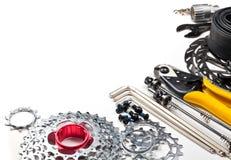 Herramientas y repuestos de la bicicleta Imagen de archivo libre de regalías