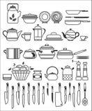 Herramientas y utensilios de la cocina. Ejemplo del vector Fotos de archivo