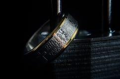 Herreböncirkel på en hänglås Royaltyfri Fotografi