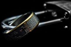 Herreböncirkel på en hänglås Fotografering för Bildbyråer