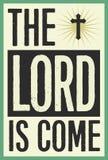 Herren är den kommna tappningjulaffischen Royaltyfria Foton