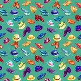 Herren ` s helle Farbpalettenschuh- und -hutsammlung, nahtloses Musterdesign auf Türkishintergrund stock abbildung