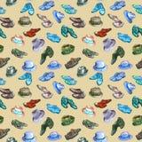 Herren ` s heller blauer, grüner Türkis, Sepiafarbpalettenschuhe und Hutsammlung, nahtloses Musterdesign auf weich Braun stock abbildung