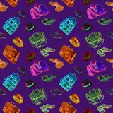 Herren ` s Schuhe, Taschen und elegante Kombinationssammlung der Hüte, Aquarellillustration in hellem Neonrosa, blau, grün, Braun lizenzfreie abbildung