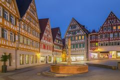 Herrenberg at Dusk, Germany. View of the old Market of Herrenberg, Germany Stock Photography