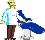 Herrenfriseur mit Stuhl Lizenzfreie Stockfotos