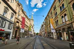 Herrengasse street full of people in City Graz Steiermark Stock Images