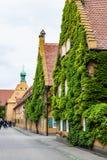 Herrengassestraat in Fuggerei-huisvesting in Augsburg Royalty-vrije Stock Afbeelding