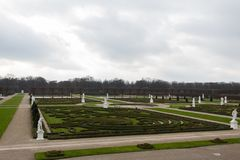 Herrenhausen gardens view from top of cascade winter overcast cloudy stock images