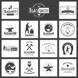herrero Sistema de carteles, de etiquetas y de impresiones de la tipografía del vintage Fotos de archivo